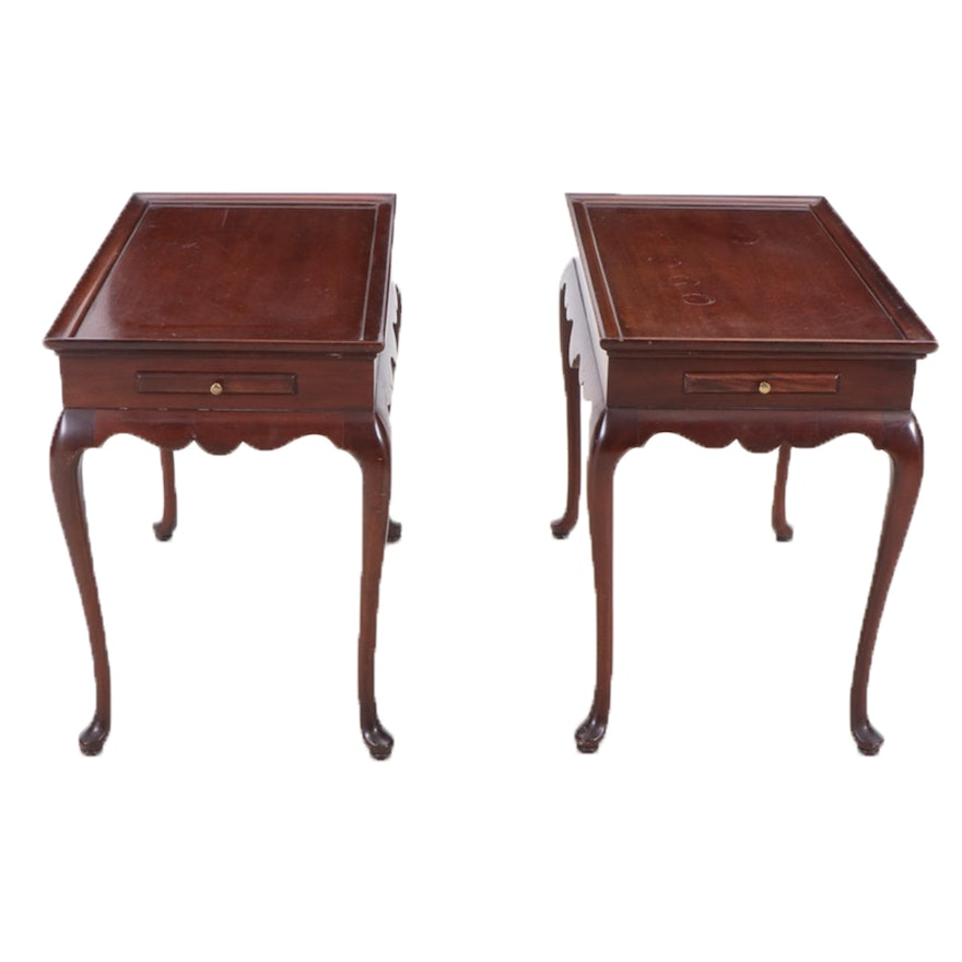 Pair of Queen Anne Style Mahogany End Tables, Late 20th Century