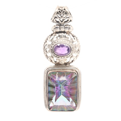Sterling Silver Amethyst and Aqua Aura Quartz Pendant