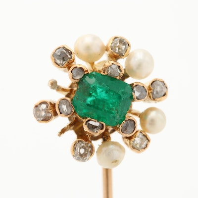 Antique 10K and 14K Emerald, Diamond and Seed Pearl Stick Pin