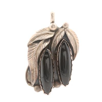 Signed Southwestern Sterling Silver Black Onyx Pendant