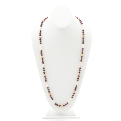Gold Filled Garnet and Pearl Beaded Necklace