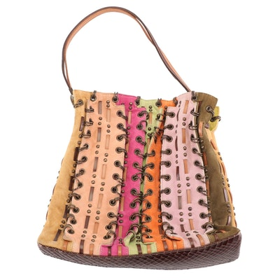 Sergio Rossi Suede and Leather Patchwork Corset Link and Studded Top Handle Bag