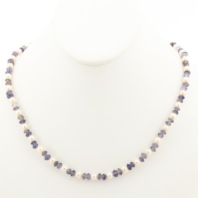 Sterling Silver Iolite and Cultured Pearl Beaded Necklace