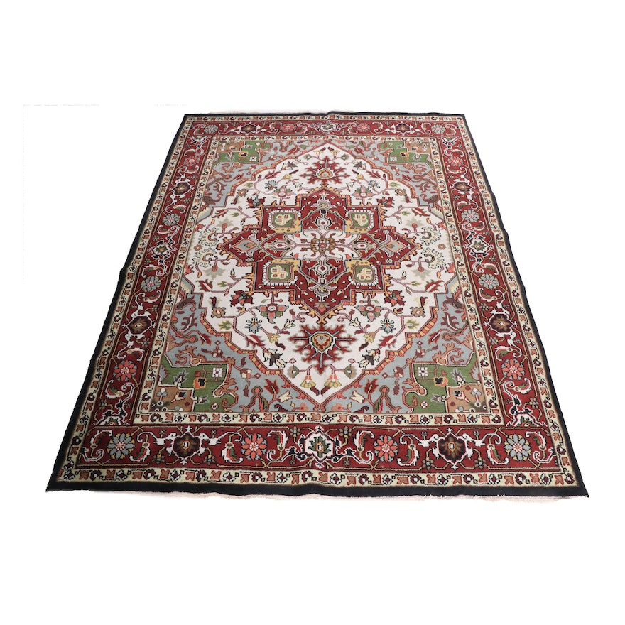 Hand-Knotted Indian Heriz Wool Room Sized Rug