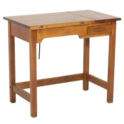 Hardwood Drafting Desk, Vintage