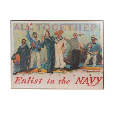 """WWI Era Navy Chromolithograph Poster after Henry Reuterdahl """"All Together!"""""""