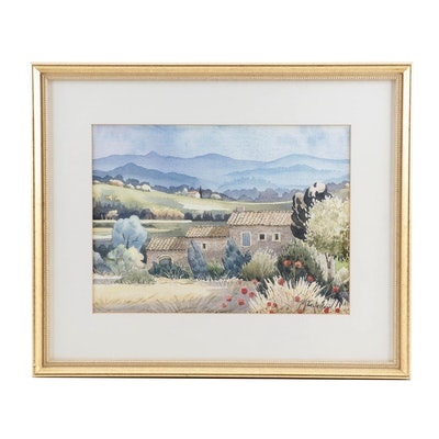 M. Castellani Watercolor Painting of Architectural Landscape