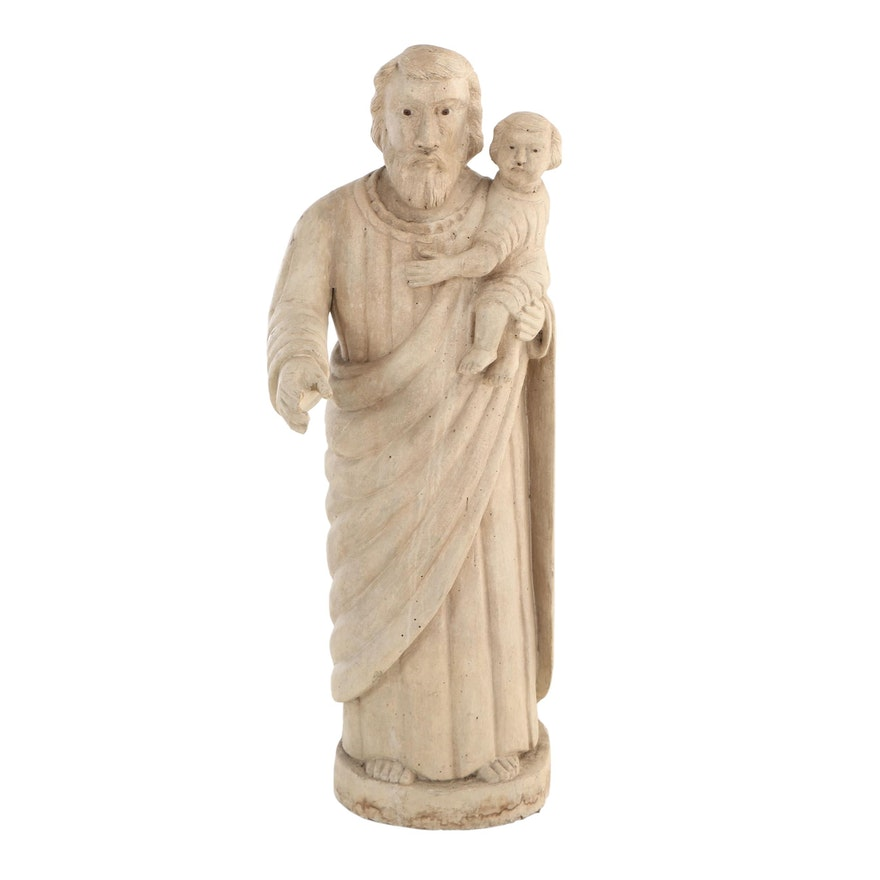 Carved Wood Sculpture of Saint Joseph with the Baby Jesus