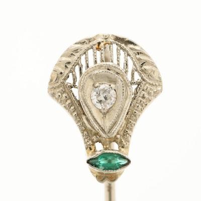 Art Deco 14K White Gold Diamond and Green Glass Stick Pin