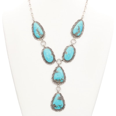 Alvin Joe Navajo Diné Sterling Silver Turquoise Necklace