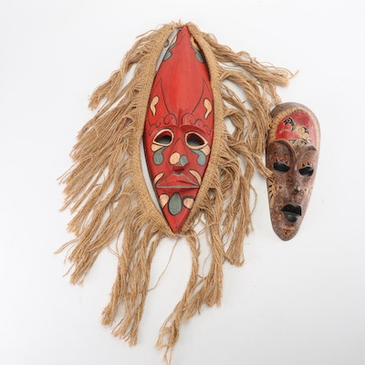 Hand-Carved Indonesian Wood Masks Including Balinese Lombok Tribe Mask