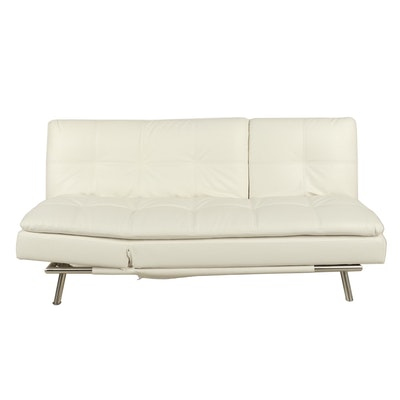 Faux Leather Futon Sofa with Power Strip and Cable Storage