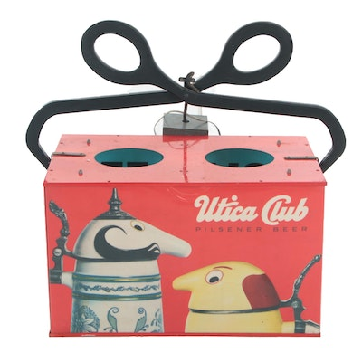 Utica Club Hanging Illuminated and Motorized Six-Pack Beer Sign, Vintage