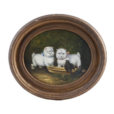 Early 20th Century Oil Painting of Dogs