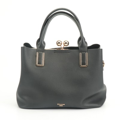 Dune London Black Faux Pebbled Leather Handbag with Kiss Lock
