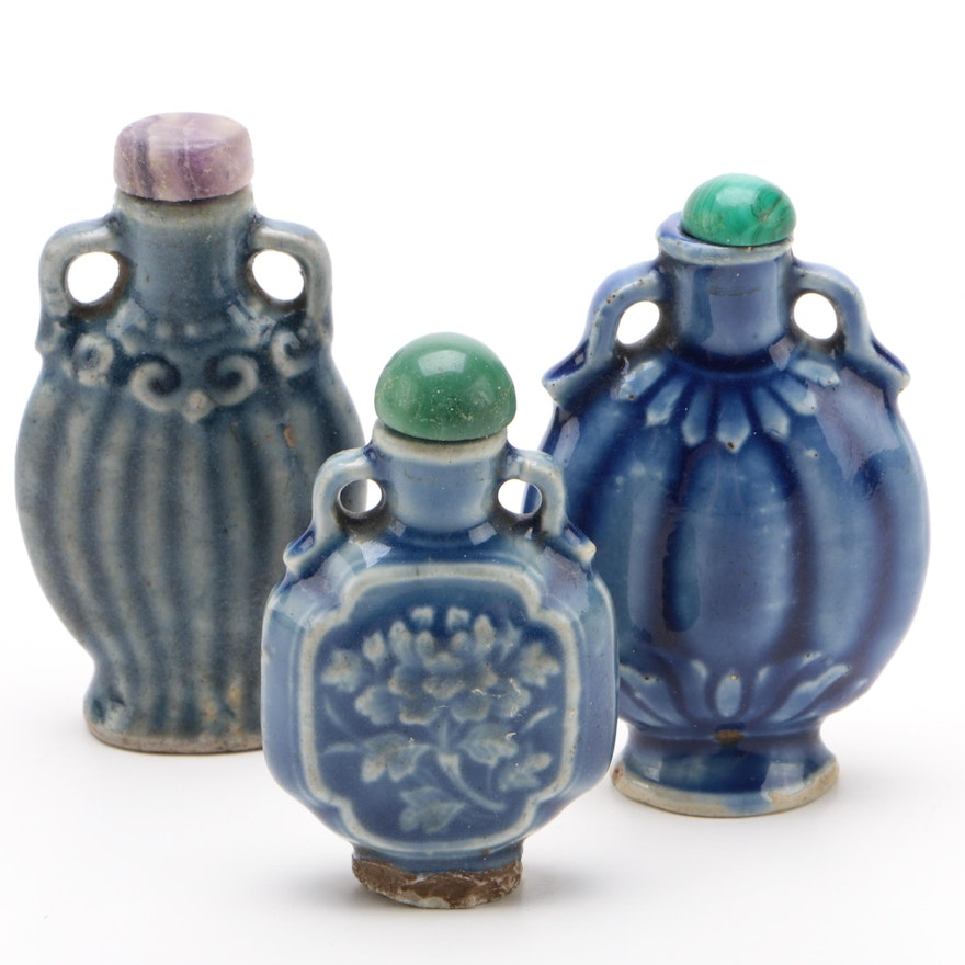 Chinese Snuff Bottles with Aventurine, Malachite and Bowenite Lids, Qing Dynasty