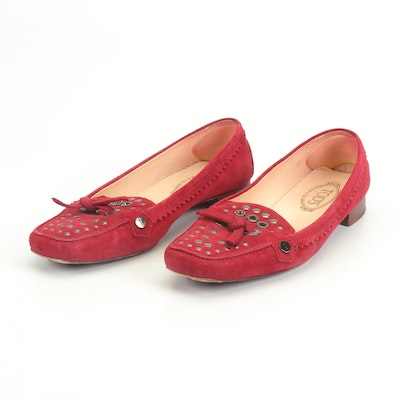 Tod's Red Suede Studded Loafers