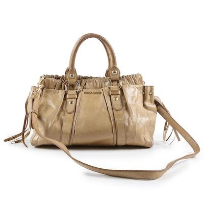 Miu Miu Two Way Bag in Distressed Beige Leather