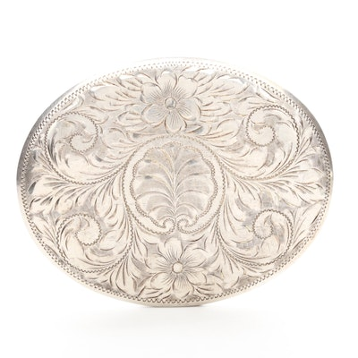 Sterling Silver Belt Buckle with Engraved Foliate Pattern, Vintage
