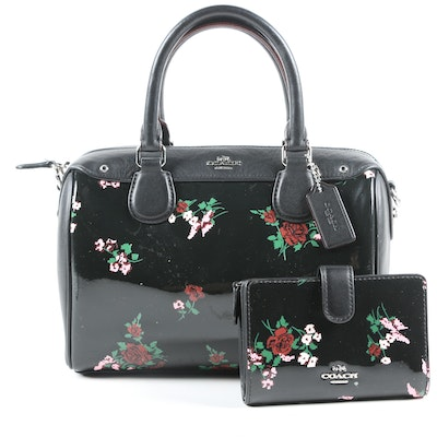 Coach Mini Bennett Floral Print Black Patent Leather Satchel and Wallet