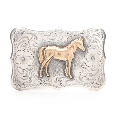Sterling Silver and Brass Horse Belt Buckle, Vintage