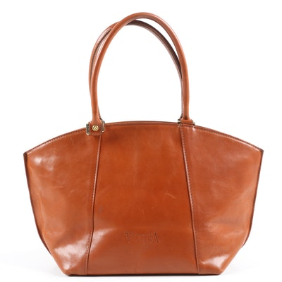 Valentina Shoulder Bag in Cognac Leather, Made in Italy