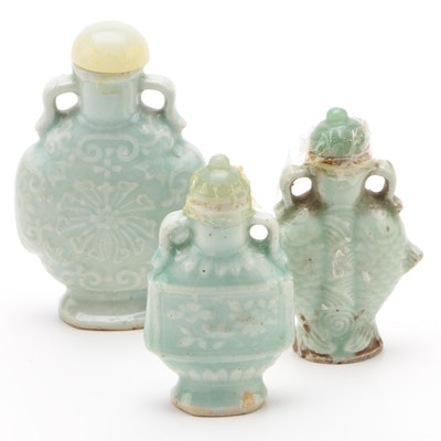 Chinese Celedon Snuff Bottles with Aventurine and Bowenite Lids