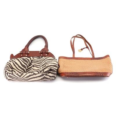 Brahmin Woven and Croc Embossed Leather & Antonio Melani Zebra Print Handbags