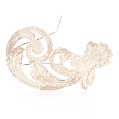 Hand Engraved Sterling Silver Hair Barrette
