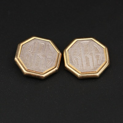 Sterling Silver Monogrammed Button Covers
