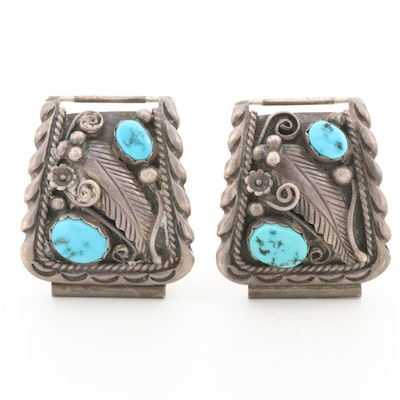 Southwestern Sterling Silver Turquoise Watch Band Components