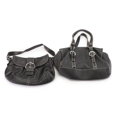 Coach Black Leather Soho Flap Buckle and Pebbled Leather Chelsea Satchel