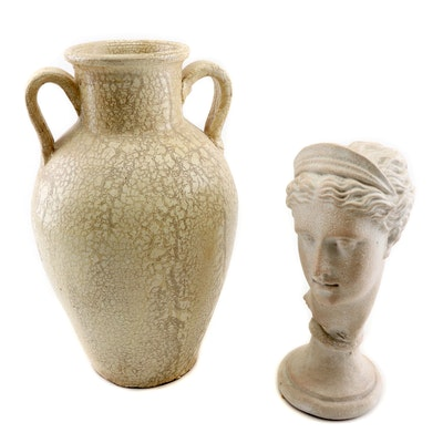 """Terracotta """"Juno"""" Bust and Urn"""