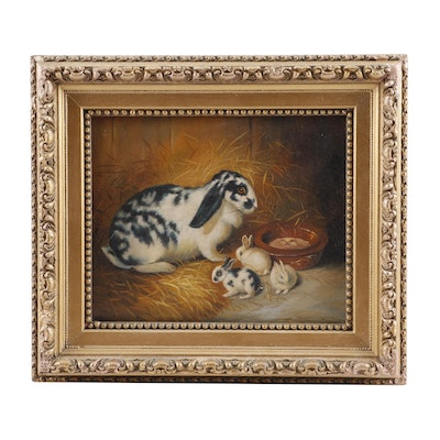 19th Century Oil Painting of Bunnies