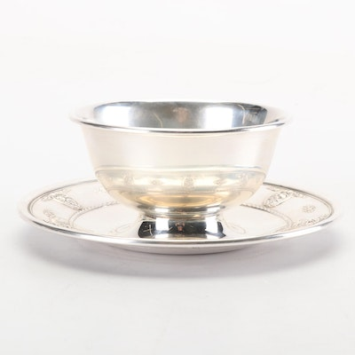 """Wallace Sterling Silver """"Rose Point"""" Bowl with Attached Underplate"""