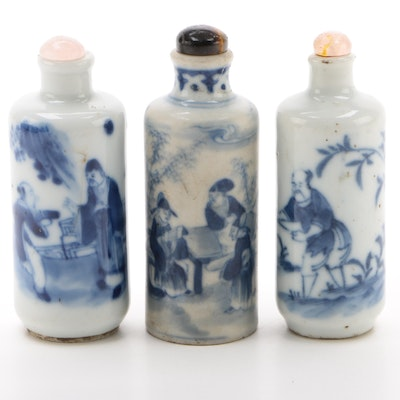 Chinese Porcelain Cylindrical Snuff Bottles One with Tigers Eye Lid