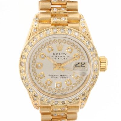Rolex Datejust 18K Yellow Gold and 1.31 CTW Diamond Wristwatch