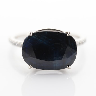 14K White Gold 5.27 CT Sapphire and Diamond Ring