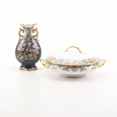 Touze Limoges Porcelain Tureen and MTR Porcelain Vase, Early 20th Century