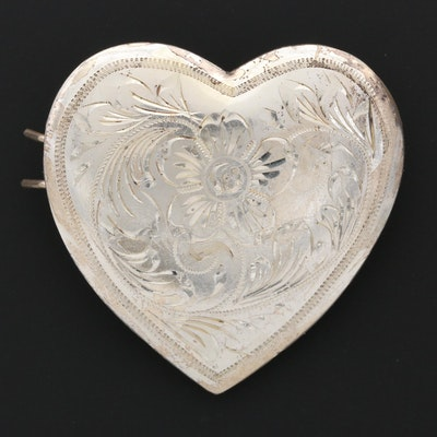 Engraved Mexican Sterling Silver Heart Shaped Barrette