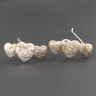 Pair of Engraved Mexican Sterling Silver Heart Barrettes