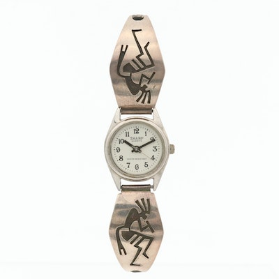Sharp Quartz Wristwatch With Hopi Sterling Silver Overlay End links