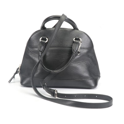 Lancaster Paris Black Leather Convertible Handbag with Crossbody Strap