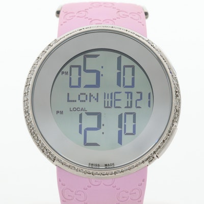 Gucci 114-4 Stainless Steel Digital Wristwatch With 2.70 CTW Diamond Case