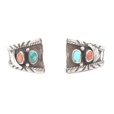 Southwestern Style Sterling Silver Turquoise and Coral Watch Lugs