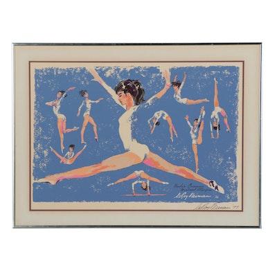"LeRoy Neiman Serigraph ""Nadia Comenaci, Montréal Olympics"""