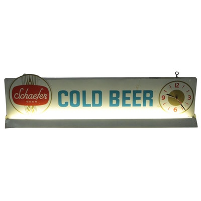 """Schaefer """"Cold Beer"""" Large Illuminated Display Sign with Clock, Vintage"""