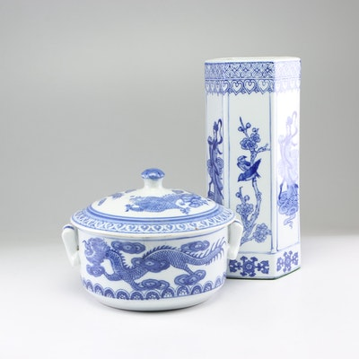 Chinese Hand-Painted Porcelain Vase and Tureen