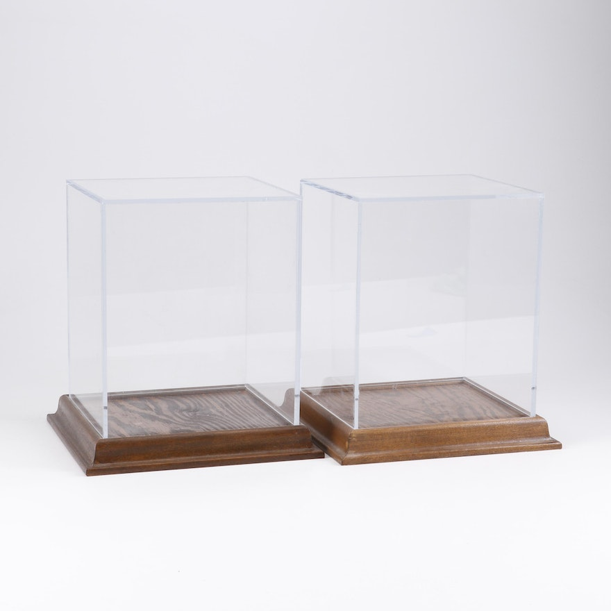 Custom Acrylic Display Cases with Stained Wood Bases
