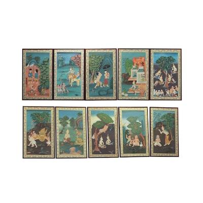 Kittisak Limserbchaur Thai Decaptych Narrative Paintings